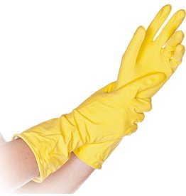 HYGOSTAR Handschuh BETTINA, Naturlatex, baumwollbeflockt, Größe: S, gelb
