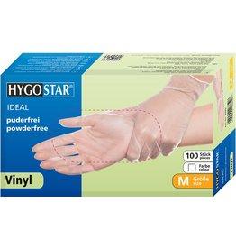 HYGOSTAR Handschuh IDEAL, Vinyl, puderfrei, Größe: M, weiß, transparent