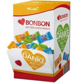 HELLMA Bonbon, Herzform, Kirsche, Displaykarton, 200 x 1 Stück