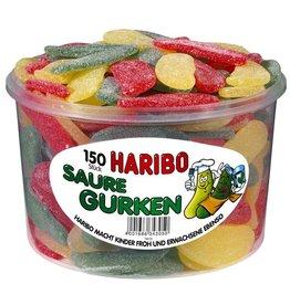 HARIBO Fruchtgummi, 150 Stück, SAURE GURKEN, Klarsichtdose