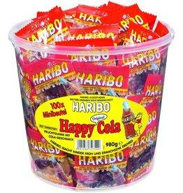 HARIBO Fruchtgummi, Happy Cola Minis, Klarsichtdose, 100x9,8g
