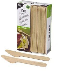 PAPSTAR Messer, Einw., L: 16,5cm, Holz, natur
