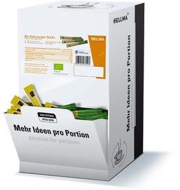 HELLMA Rohrzucker Bio, grobkörnig, braun, Displaykarton, 500 Sticks à 4 g