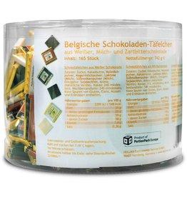 HELLMA Schokotäfelchen Belgisch, Klarsichtdose, 165 x 1 Stück