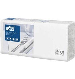 TORK Serviette, Soft, Lunch, Tissue, 3lagig, 1/4 Falz, 32,6 x 33 cm, weiß