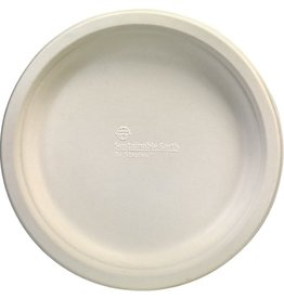 Sustainable Earth By Staples Teller, Bagasse, flach, rund, Ø: 22,9cm, natur