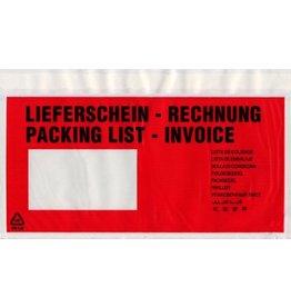 DEBATIN Begleitpapiertasche UNIPACK™, LIEFERSCH.-RECHN., sk, DL, farblos/rot