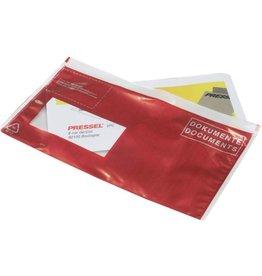 Pressel Begleitpapiertasche, DOKUMENTE, sk, DL, 241x136mm, farblos/rot/weiß