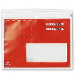Pressel Begleitpapiertasche, Fenster rechts, DOKUMENTE, C6, farblos/rot/weiß