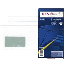 MAILmedia Briefumschlag, mit Fenster, selbstklebend, DL, 72 g/m², weiß