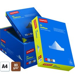 STAPLES Multifunktionspapier multiuse, A4, 80g/m², weiß, 5x500Bl.