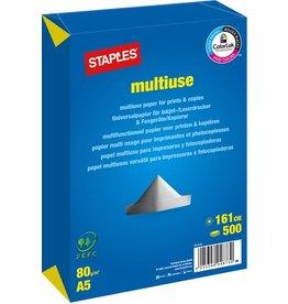 STAPLES Multifunktionspapier multiuse, A5, 80g/m², weiß