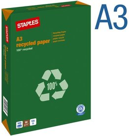 STAPLES Multifunktionspapier, A3, 80 g/m², Recycling, weiß