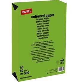 STAPLES Multifunktionspapier, A3, 80g/m², deep green / maigrün, intensiv