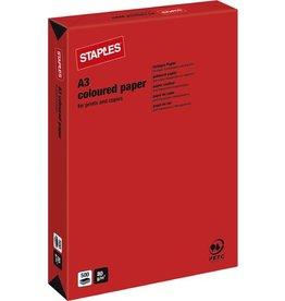 STAPLES Multifunktionspapier, A3, 80g/m², red / korallenrot, intensiv