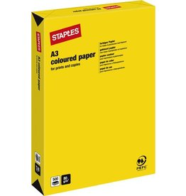 STAPLES Multifunktionspapier, A3, 80g/m², yellow / kanariengelb, intensiv