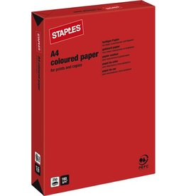 STAPLES Multifunktionspapier, A4, 160g/m², red / korallenrot, intensiv