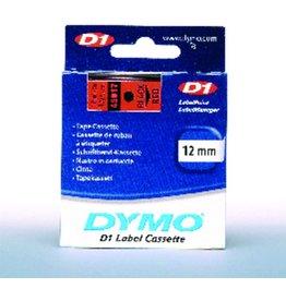 DYMO Schriftbandkassette, D1, 12 mm x 7 m, schwarz auf rot
