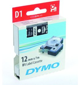 DYMO Schriftbandkassette, D1, 12 mm x 7 m, weiß auf schwarz