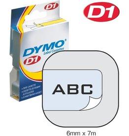 DYMO Schriftbandkassette, D1, 6 mm x 7 m, schwarz auf farblos