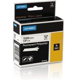 DYMO Schriftbandkassette, Rhino, Polyester, 12mmx5,5m, schwarz auf weiß