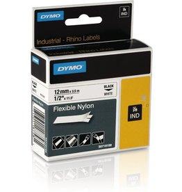 DYMO Schriftbandkassette, Rhino, Nylon, 12 mm x 3,5 m, schwarz auf weiß