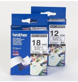 Brother Schriftbandkassette, TZe, unlaminiert, 12mmx8m, schwarz auf weiß