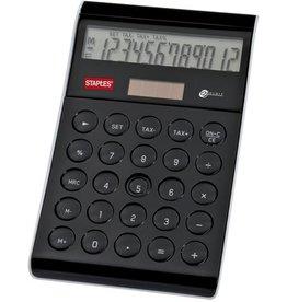 STAPLES Tischrechner, Design, Solar/Batterie, angewinkeltes Display, 12stlg.