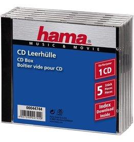 hama CD-Hülle JewelCase, PS, für: 1 CD/DVD, farblos/schwarz