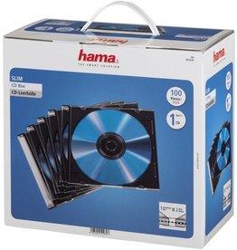 hama CD-Hülle Slim, PS, für: 1 CD/DVD, farblos/schwarz