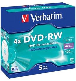 Verbatim DVD-RW, Jewelcase, wiederbeschreibbar, 4,7 GB, 120 min, 4 x