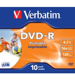 Verbatim DVD-R, full printable, Jewelcase, einmalbeschreibb., 4,7 GB, 16 x
