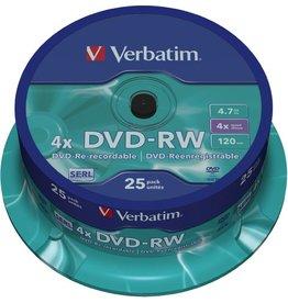 Verbatim DVD-RW, Spindel, wiederbeschreibbar, 4,7 GB, 120 min, 4 x