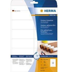 HERMA Etikett Outdoor, FL/FK, sk, abger.Ecken, 99,1 x 42,3 mm, weiß, matt