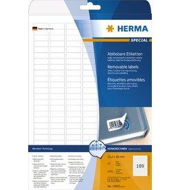 HERMA Etikett, I/L/K, sk, ablösbar, abger.Ecken, 25,4 x 10 mm, weiß