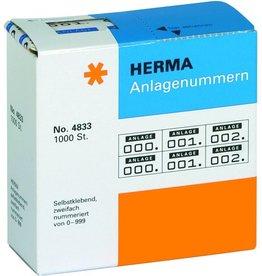 HERMA Anlagenummer, 0-999, Kart.spend., Pap., 22x15mm, weiß, Druckf.: dkl.bl