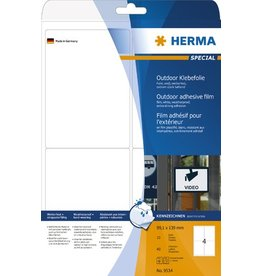 HERMA Etikett Outdoor, FL/FK, sk, abger.Ecken, 99,1 x 139 mm, weiß, matt