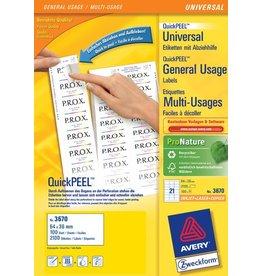 AVERY Zweckform Etikett QuickPEEL™, I/L/K, A4-Bg., sk, Pap., 64x36mm, weiß