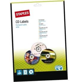 STAPLES Etikett, CDs/DVDs, I/L/K, A4-Bg., sk, Pap., Ø: 117mm, weiß