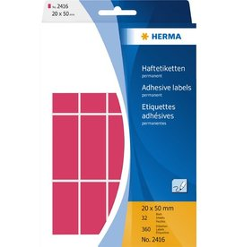 HERMA Etikett, Handbeschriftung, sk, Spezialpapier, 20 x 50 mm, leuchtrot