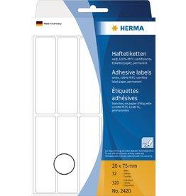 HERMA Etikett, Handbeschriftung, sk, Spezialpapier, 20 x 75 mm, weiß