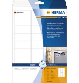HERMA Etikett, I, auf A4-Bogen, sk, Folie, 63,5x29,6mm, weiß, opak, matt