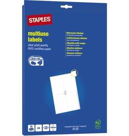 STAPLES Etikett, I/L/K, A4-Bg., sk, Pap., 105x148mm, weiß