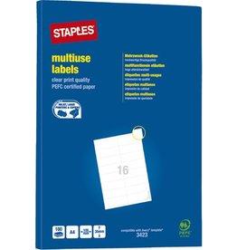 STAPLES Etikett, I/L/K, A4-Bg., sk, Pap., 105x35mm, weiß