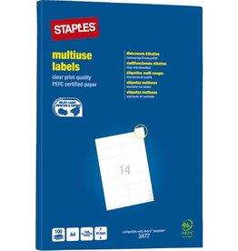 STAPLES Etikett, I/L/K, A4-Bg., sk, Pap., 105x41mm, weiß