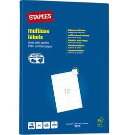 STAPLES Etikett, I/L/K, A4-Bg., sk, Pap., 105x48mm, weiß