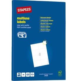 STAPLES Etikett, I/L/K, A4-Bg., sk, Pap., 105x70mm, weiß