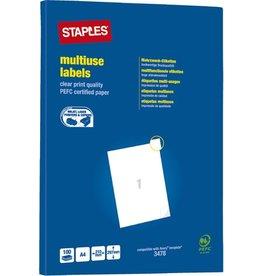 STAPLES Etikett, I/L/K, A4-Bg., sk, Pap., 210x297mm, weiß