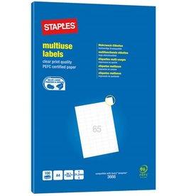STAPLES Etikett, I/L/K, A4-Bg., sk, Pap., 38,1x21,2mm, weiß