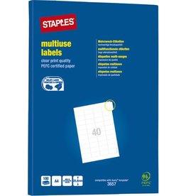 STAPLES Etikett, I/L/K, A4-Bg., sk, Pap., 48,5x25,4mm, weiß